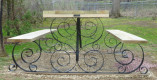 Side View – Wrought Iron Picnic Table