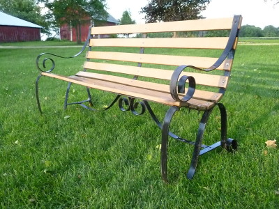 Wrought iron park bench.