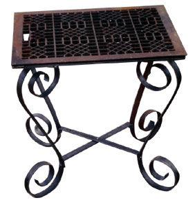End table with custom scroll legs.
